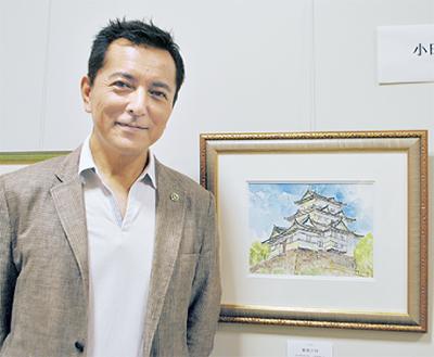 小田原城の水彩画も
