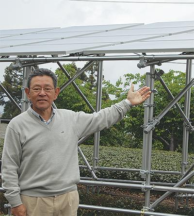 県内初の営農型発電開始