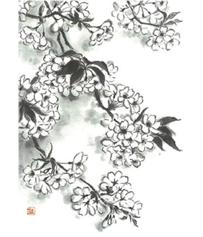 桜の水墨画展
