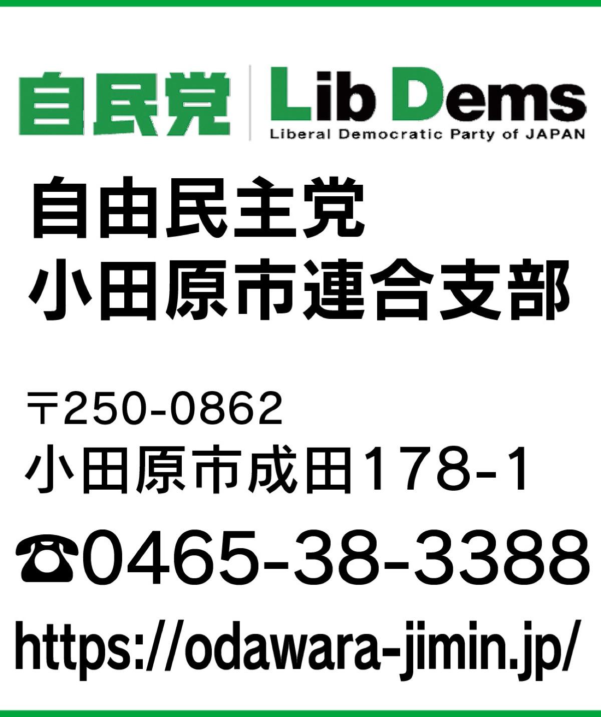 意見広告 市政の将来を左右する時 自由民主党  小田原支部 国・県・市で連携強化