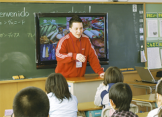 留学生の話に子どもたちは興味津々