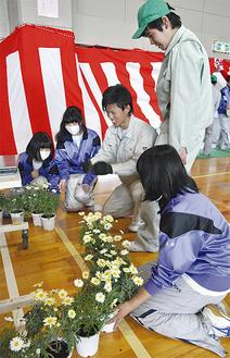 文命中の生徒に花のレイアウトを指導