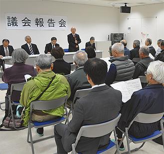 支持者以外の住民と向き合うのが報告会の特長でもある             =4月18日・大井町内金子