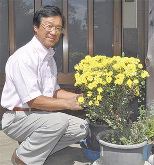 自宅で「秋告菊」を栽培する古屋さん