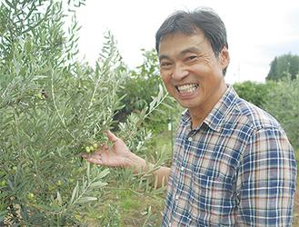 実ったオリーブと笑顔の加藤さん=南足柄市岩原のオリーブ畑