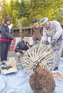 有川さん(右)が作る杉玉は直径90cmの大作