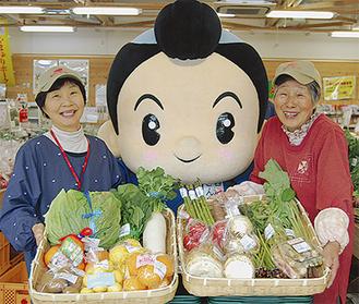 店内には旬の農産物がいっぱい!感謝祭には「西湘きんじろう」も遊びに来ます!