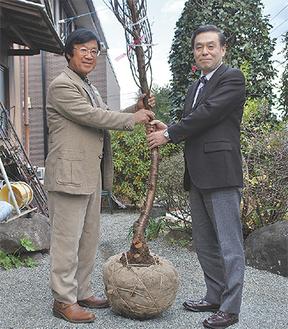 古屋さん(左)から杉山館長に桜が手渡された=12月22日・古屋さん宅