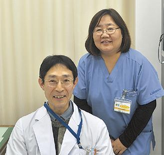 中村慎一医師(左)山下まや看護部長(右)