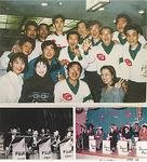 ラッパ隊のメンバー(上・1993年)ダンスパーティーの様子(左下・1966年、右下1973年)