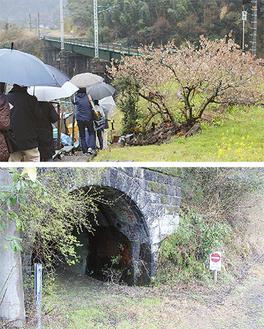 酒匂川第2橋梁(上)と第5号トンネル西口