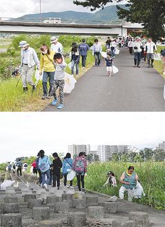 橋の下や土手沿いを掃除する参加者 =大井町