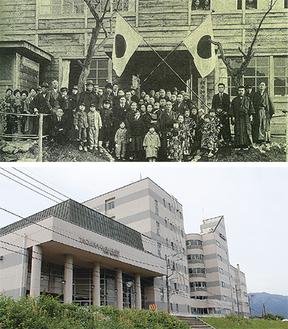 松田和洋裁縫女学校の校舎(上)と現校舎