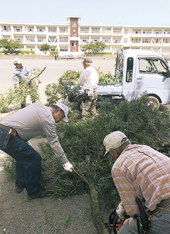 枝を積み込むボランティアの参加者