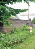 撤去が検討されている岡本小のブロック塀