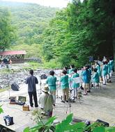 夕日の滝で音楽祭