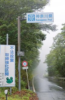 選手が通過する県道730号 =8月20日撮影