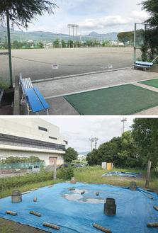 人工芝化の検討が始まるグラウンド(上)体育館裏にある土俵が2つある相撲場(下)