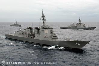 海上自衛隊 護衛艦「あしがら」2006年進水。全長165m全幅21m、兵員300名=海上自衛隊ホームページ出典
