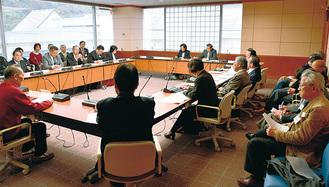 特別委員会で意見陳述する高橋さん(左)