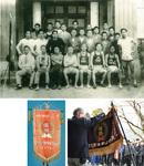 上・大正後期から昭和初期の青半田とみられる写真。前列左が亮之輔。下・右から河野一郎寄贈の優勝旗と河野謙三寄贈の優勝旗