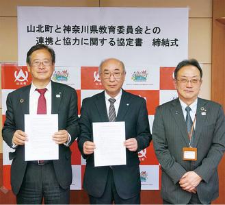 協定を締結した(左から)湯川町長、桐谷次郎県教育長、藤田校長。この後3人で手を取り合って、緊密な連携をアピールした