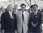 昭和33年のオリンピックデー。左から渋谷先生、マラソン金メダリスト孫基禎、三段跳び金メダリスト織田幹雄