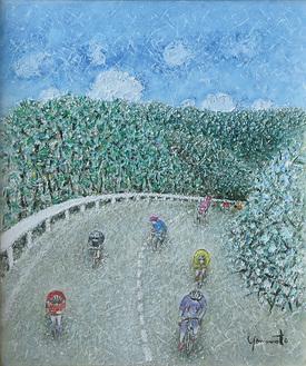 山北町を通過する東京五輪の自転車ロードレースをイメージした油絵「熱闘」。松田町在住の山本篤史さんが描いた