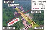 現地の上空写真(左)