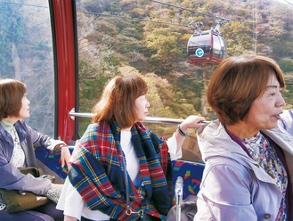 車内からの眺めを楽しむ観光客=26日撮影