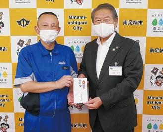 アサヒビール前田部長(左)と加藤市長