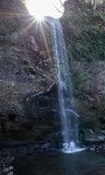 滝の落ち口に重なる太陽