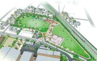 町役場裏に建設中の新公園完成イメージ(大井町提供)