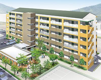 山北駅北側に6階建て町営住宅