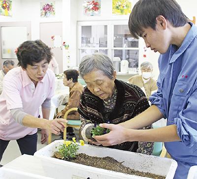 吉高生と社協パンジー植栽