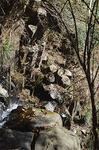 高さは10m以上はあると思われる六方石の束に水が砕け虹が輝いていた。滝の上から見ると六角形の岩が見て取れる。ペン立てのよう(右)