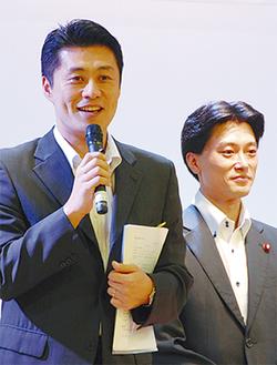 細野大臣(左)と神山議員