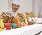 オーベルジュ・オー・ミラドーのスタッフは地場産の小松菜やカボチャなどを使った色鮮やかなケーキを出品