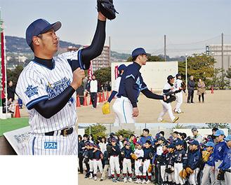 速球も暴投も笑顔で受け止めていた大田阿斗里選手(DeNA)