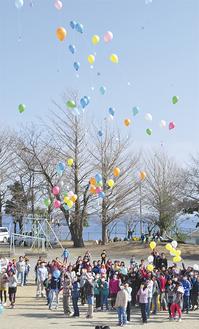 東北方向に飛び立つ風船