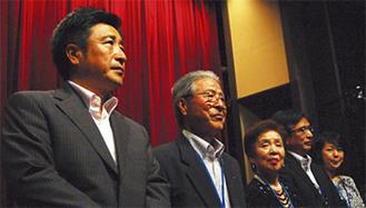 (左から)勝俣徳彦社長、勝俣忍会長ら