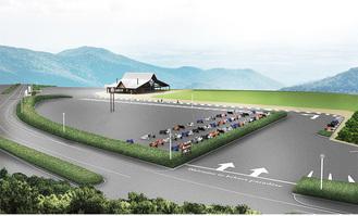以前の建物を改装、駐車場はバイクのほか車も受け入れる