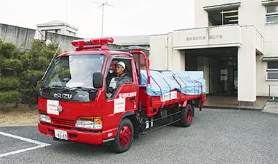 湯河原から水戸市へ救援物資