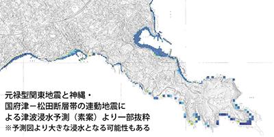 新たな津波浸水予測
