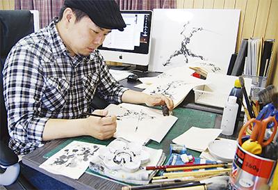 雑誌にも掲載  気迫の墨絵師