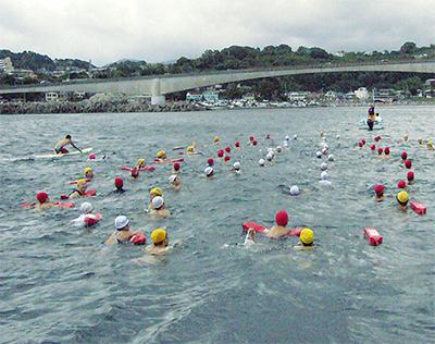 総勢53人岩で遠泳