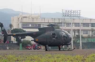 薬を届けるヘリ訓練