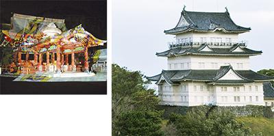 小田原城で「デジタル掛け軸」