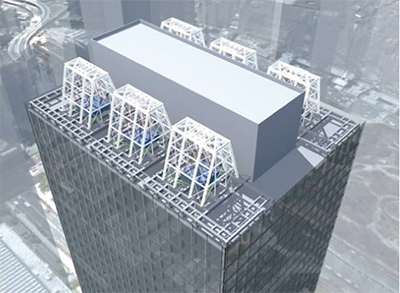 上空210mの制震装置