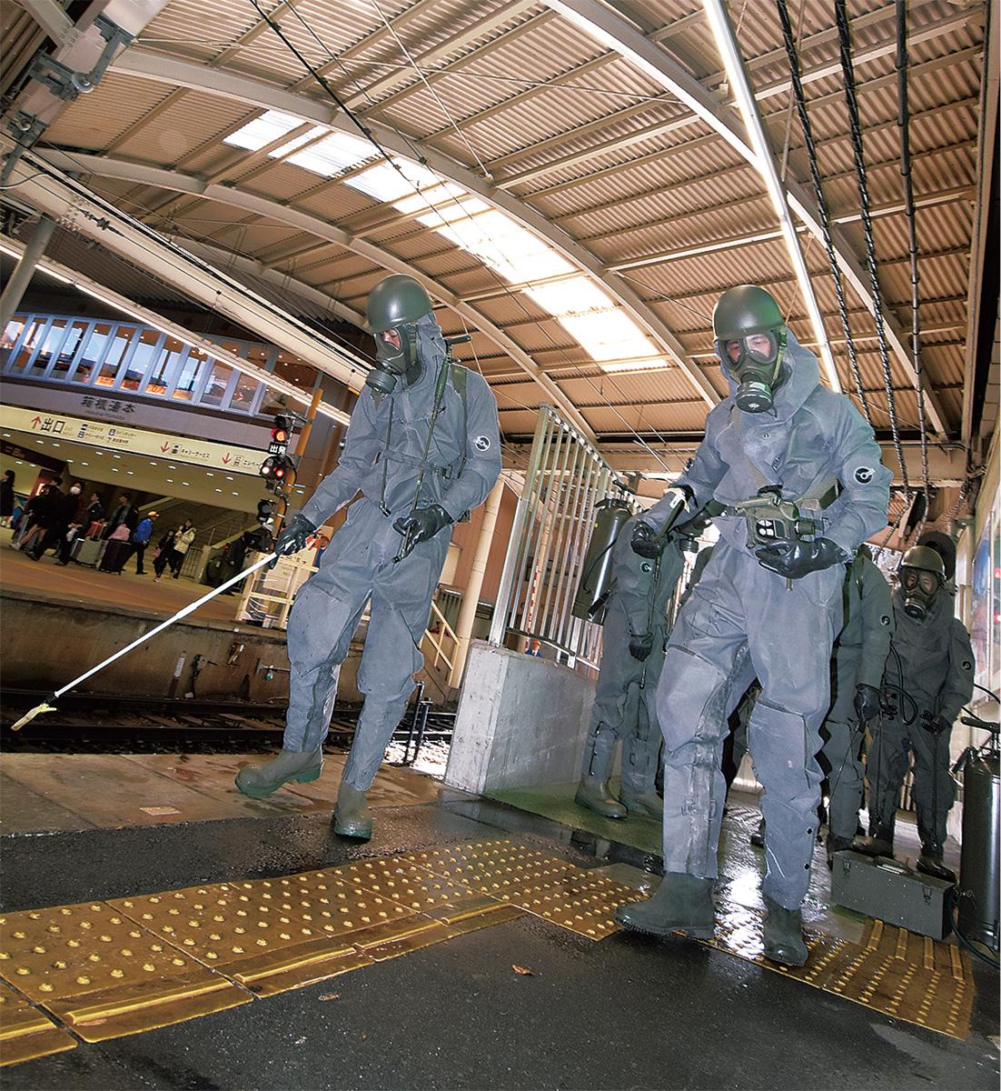 湯本駅で除染訓練